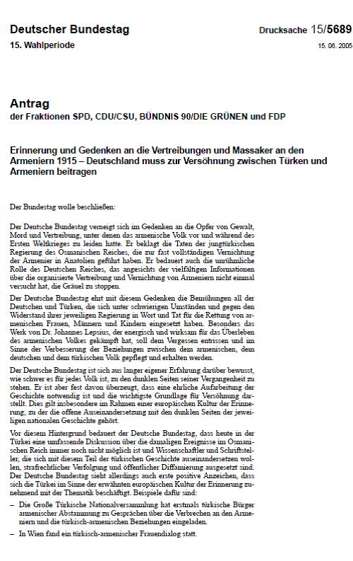 15.06.2006 tarihinde Alman parlamentosunun aldığı karar metninin ilk sayfası