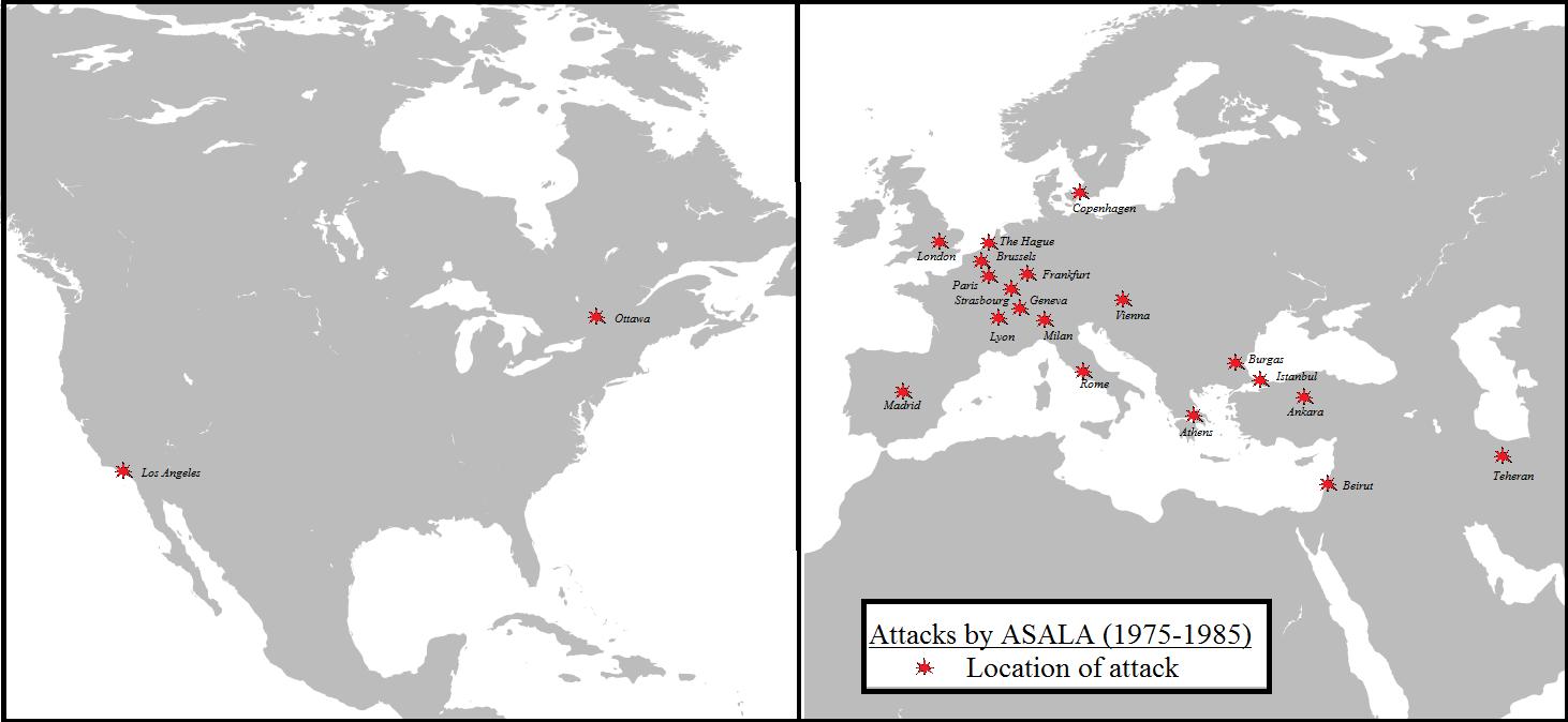 1975-85 yılları arasında ASALA saldırıları haritası