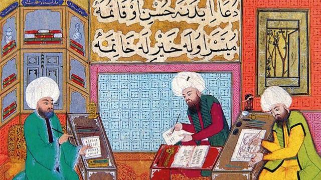 İslam toplumlarında bilimsel faaliyeti gösteren bir minyatür