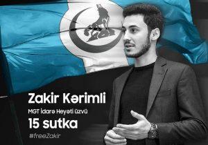 Milliyetçi Gençler Teşkilatı Yönetim Kurulu Üyesi Zakir Kerimli'ye 15 Gün Hapis Cezası