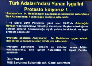 Ege Adalarımızın işgali protesto edilecek