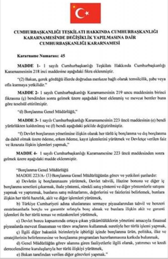 """45 Numaralı Cumhurbaşkanlığı Kararnamesi ile """"Borçlanma Müdürlüğü""""nün kurulduğunu belgeleyen 12 Eylül 2019 tarihli ve 30886 sayılı Resmi Gazete"""