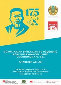 Abay Kunanbayoğlu'nun Dogumunun 175. Yılı Akademik Açılış Töreni