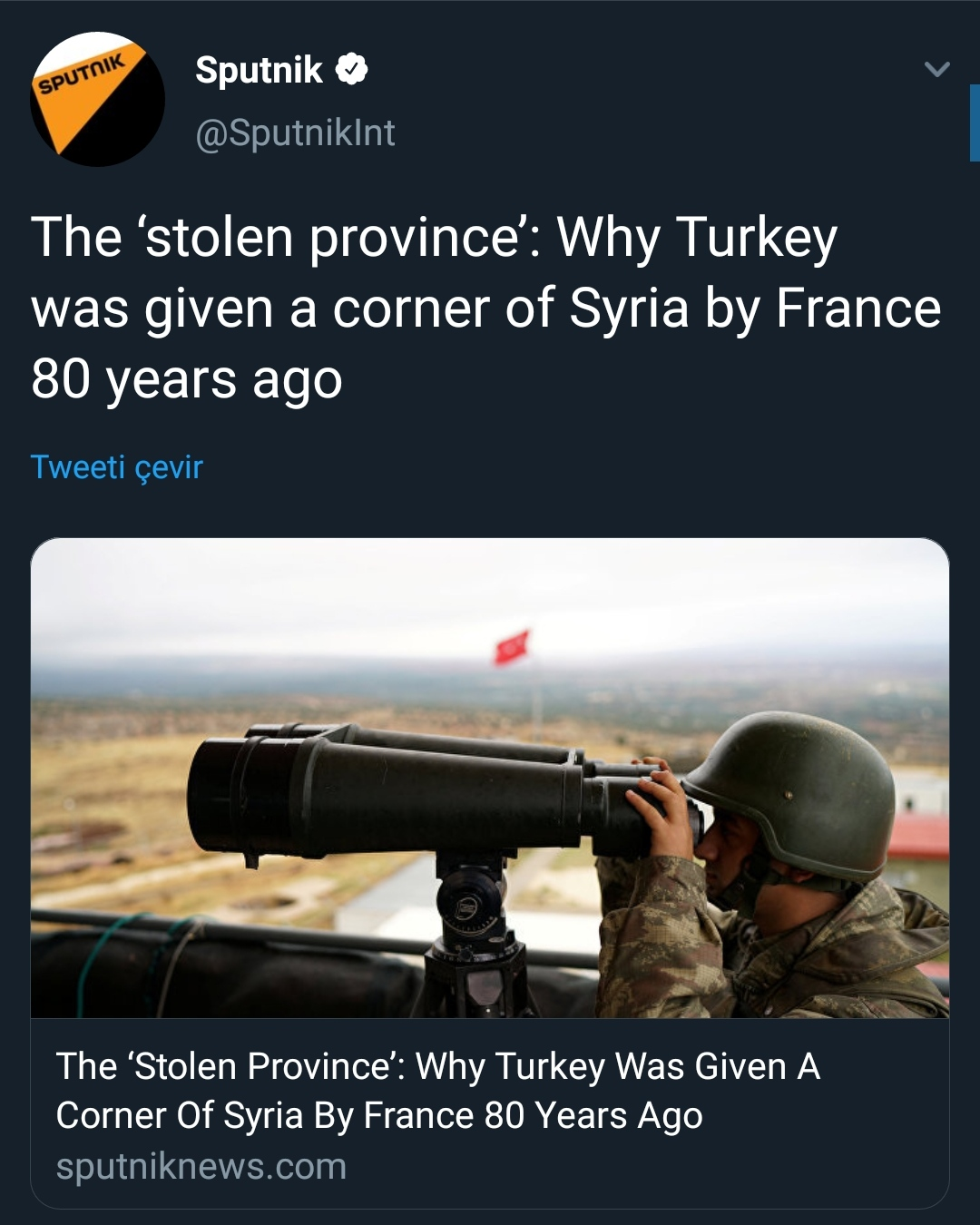 """Rus haber sitesi Hatay için """"çalınmış il"""" dedi"""