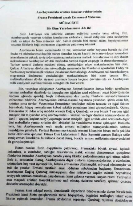 Azerbaycanlı hristiyanlardan Macron'a uyarı