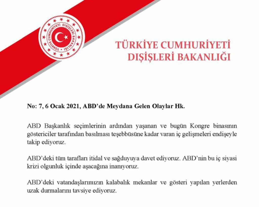 Türk Dışişleri: ABD'deki vatandaşlarımız dikkatli olmalı