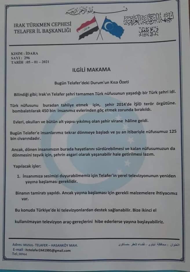 Telafer Türkmenleri yardım çağrısında bulundu