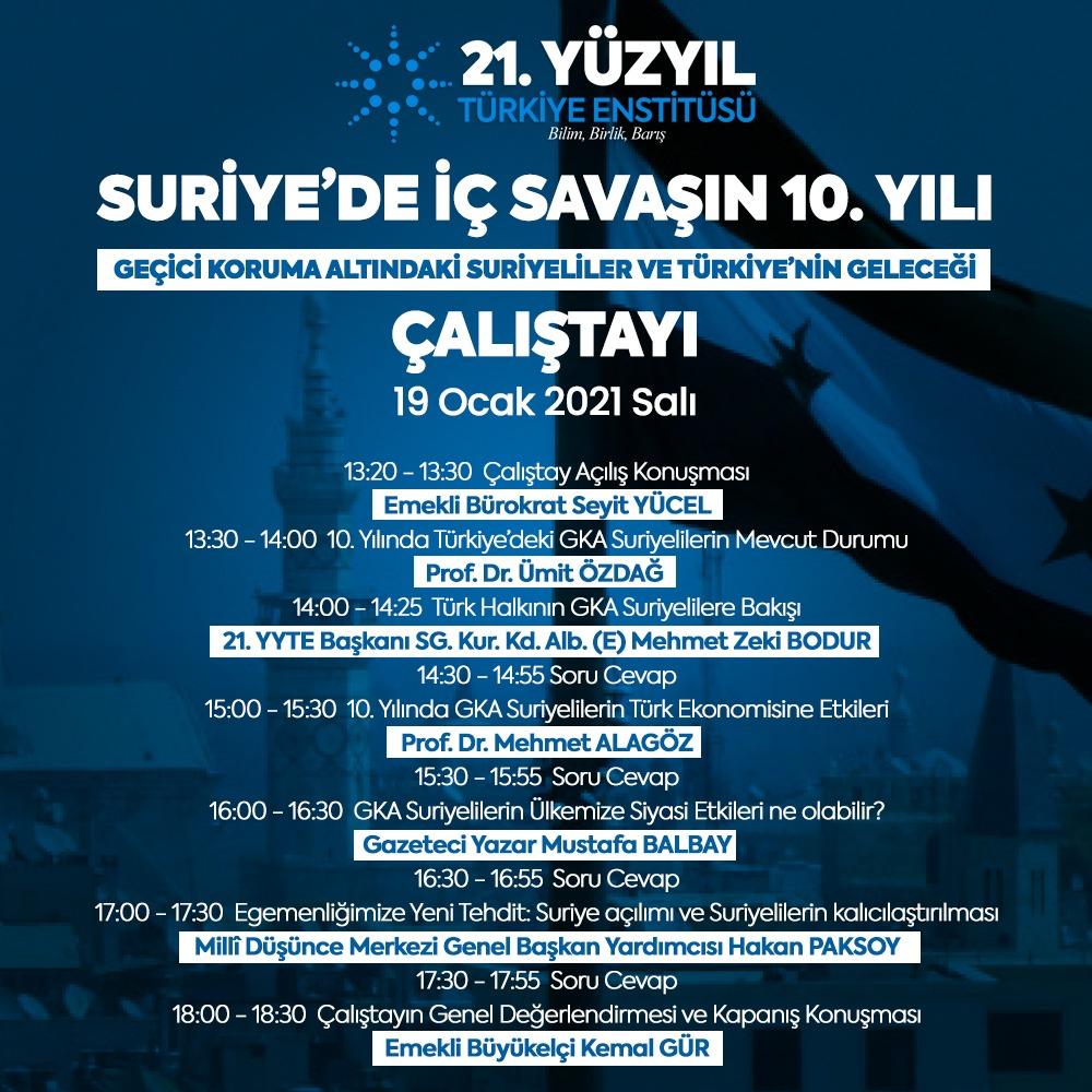 Suriye'de iç savaşın 10. yılı: Geçici koruma altındaki Suriyeliler ve Türkiye'nin geleceği çalıştayına davet