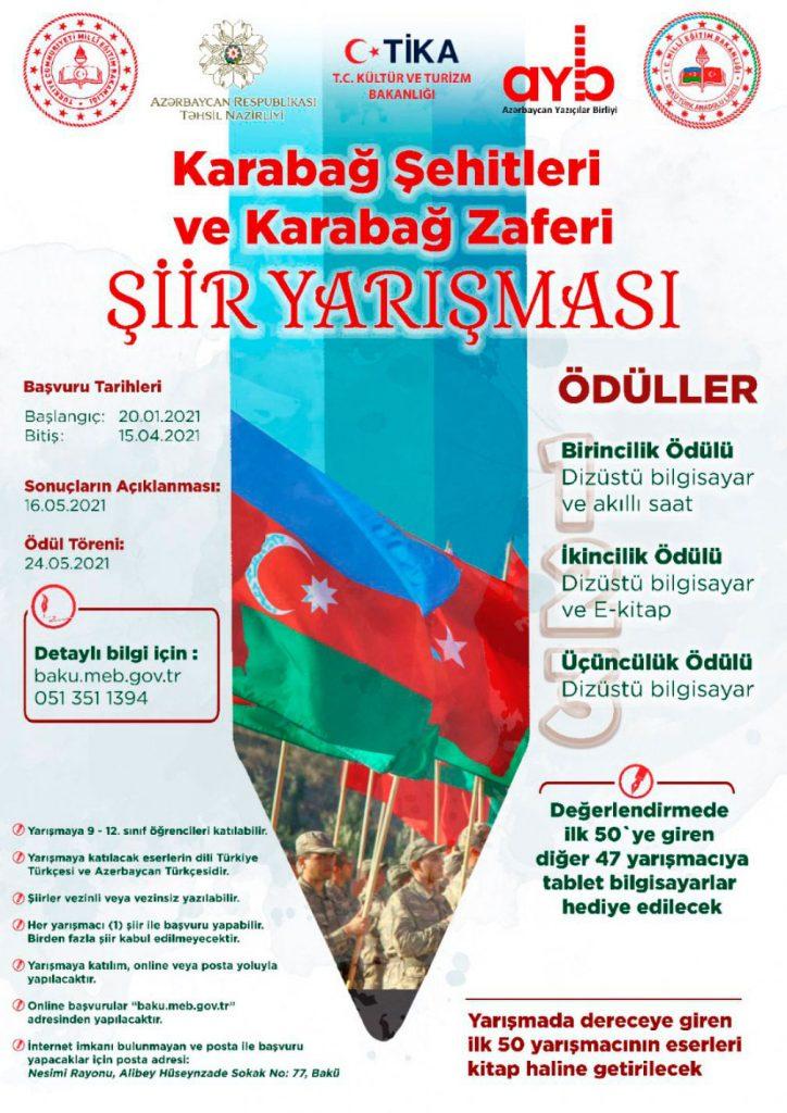 """""""Karabağ Şehitleri ve Karabağ Zaferi"""" konulu şiir yarışması"""
