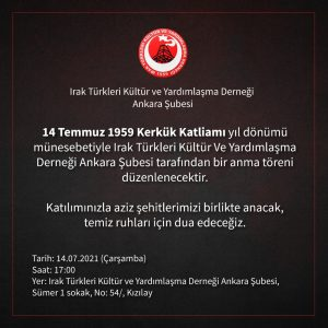 Anma Töreni (14 Temmuz 1959 Kerkük Katliamı)
